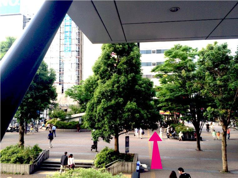 ②横浜アリーナ方面出口を出て広場をまっすぐ進みデイリーストア前を左に曲がる